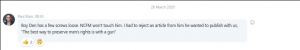 Paul Elam offering opinion of Roy Den Hollander 26 March 2020